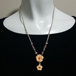 Jewelry - Orange & Pink Flower Necklace